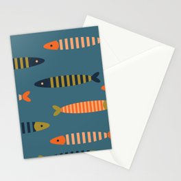 Striped fish - blue Stationery Cards