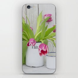 pink spring tulip still life country style iPhone Skin