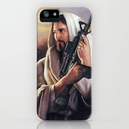 Assault Rifle Jesus Christ Messiah - Who WOuld Jesus Shoot iPhone Case