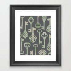 Skeleton Key Pattern in Gray Framed Art Print