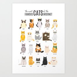 the most Famous Cats of the Internet Art Print