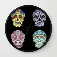 sugar skulls Wall Clocks featuring Sugar Skulls by katherinejago