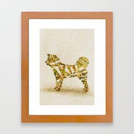 Akita Inu Typography Art / Watercolor Painting Framed Art Print
