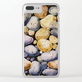 beach stones Clear iPhone Case