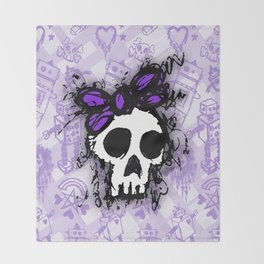 Purple Sketched Skull Princess Throw Blanket