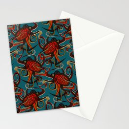 octopus ink teal Stationery Cards