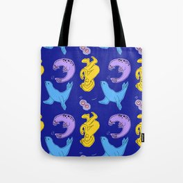 Seals on a Blue Background Tote Bag