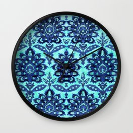 Floral Fabric Vintage Gift Pattern Blue Wall Clock