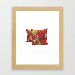 Handmade Fruit Print Kantha Pillow Cover Framed Art Print