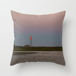 Romantic Galveston Beach Strawberry Full Moon Throw Pillow