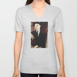 Paul Guillaume by Amedeo Modigliani Unisex V-Neck