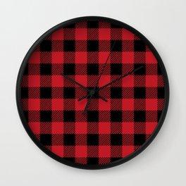 Red Buffalo Plaid Wall Clock