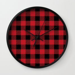 Red Buffalo Plaid Wall Clock