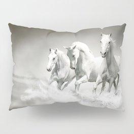Wild White Horses Pillow Sham
