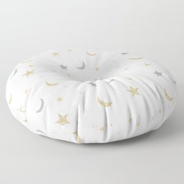 Gold and silver moon and star pattern Floor Pillow