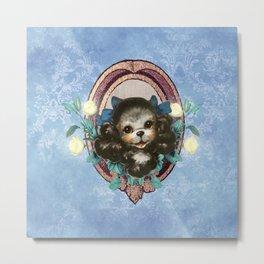 Kitschy Blue Puppy Metal Print