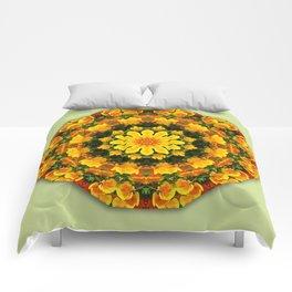 Floral mandala-style, California Poppies Comforters