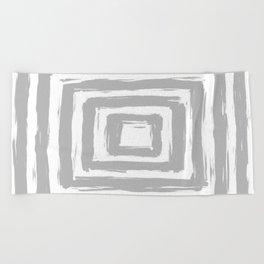 Minimal Light Gray Brush Stroke Square Rectangle Pattern Beach Towel