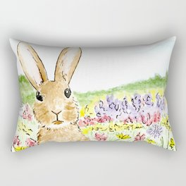 Bunny in the Meadow Rectangular Pillow