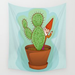 fairytale dwarf with cactus Wall Tapestry