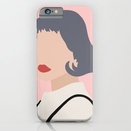 Woman with Black Overalls iPhone Case