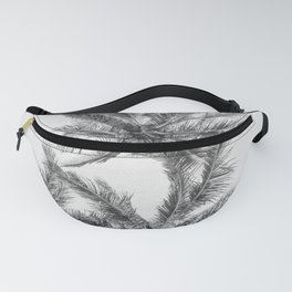 Tropical Palm Tree Black and White Beach Decor Fanny Pack