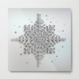 snow crystal Papercut Metal Print
