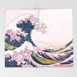 The Great Pink Wave off Kanagawa Throw Blanket