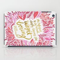 fitzgerald iPad Cases featuring Zelda Fitzgerald – Pink on White by Cat Coquillette