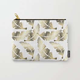 Tropical brown gold abstract leaves floral pattern Carry-All Pouch