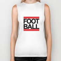 football Biker Tanks featuring FOOTBALL by Crewe Illustrations