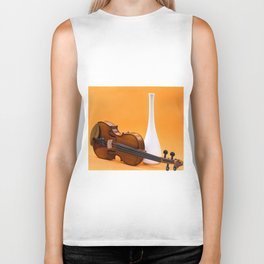 Still life with violin and white vase on an orange Biker Tank
