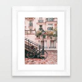 Bike in Paris Pink City Photography  Framed Art Print