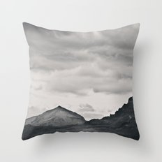 Mountain Peak and Plateau Black and White Throw Pillow