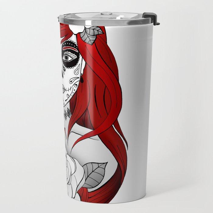 Santa Muerte Red Travel Mug