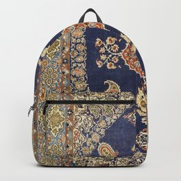 Persia Qum Old Century Authentic Colorful Grunge Green Blue Red Vintage Rug Pattern Backpack