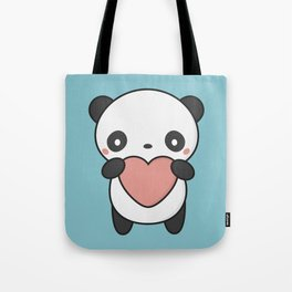 Kawaii Cute Panda With A Heart Tote Bag