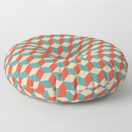 cube pattern blue orange cream Floor Pillow