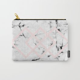 White Marble Concrete Look Blush Pink Geometric Squares Carry-All Pouch