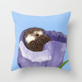 Sleeping Hedgehog In A Purple Tulip / Spring Decor Throw Pillow
