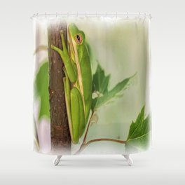 Painted Green Tree Frog Shower Curtain