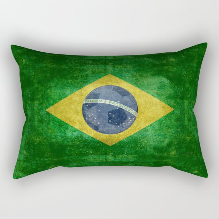 Vintage Brazilian flag with football (soccer ball) Rectangular Pillow