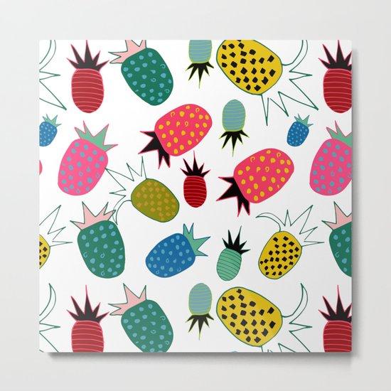 pineapple fun tropical white Metal Print