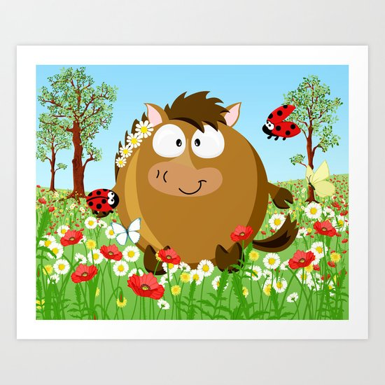 Horse on the meadow in Juny month series Art Print