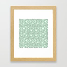 Greyhound floral silhouette mint and white minimal dog silhouette dog breed pattern Framed Art Print