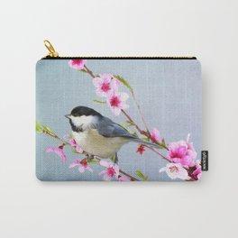 Carolina Chickadee and Peach Blossoms Carry-All Pouch