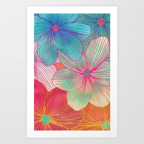 Between the Lines - tropical flowers in pink, orange, blue & mint Art Print