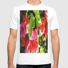 Vibrant pink and red flowers White MEDIUM Mens Fitted Tee
