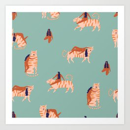 Tigers and girls Art Print