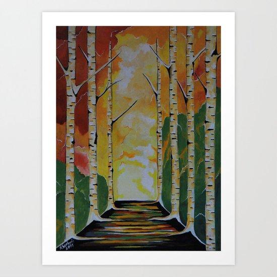 Meet Me By The Birches Art Print